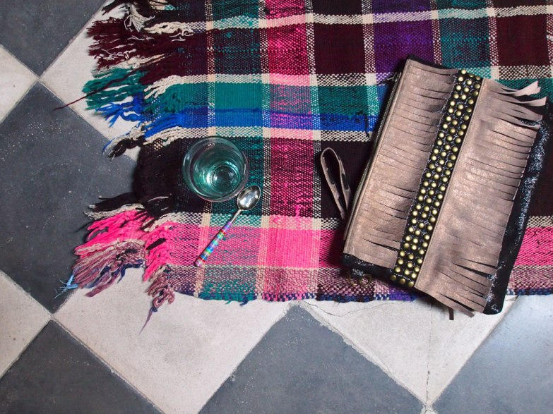Teaglass from Chabi Chic, clutch from Jamade Boutique and plaid from Michi Boutique