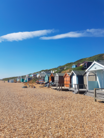 Colorful beach huts, Milford-on-Sea beach